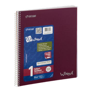 Top Flight Wired 1 Subject Notebook