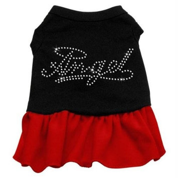 Mirage Pet Products Rhinestone Angel 12-Inch Pet Dress, Medium, Black with Red