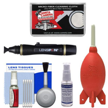 Cleaning Kit Essential Bundle with Blower, Fluid, Lenspen & Cloth for Canon, Nikon, Fuji, Olympus, Panasonic, Pentax & Sony ILC/DSLR Cameras