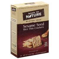 Back to Nature Gluten Free Sesame Seed Rice Thin Crackers, 4 oz, (Pack of 12)