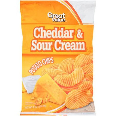 Great Value Cheddar & Sour Cream Potato Chips, 8 oz