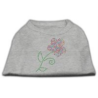 Mirage Pet Products 5249 XXLGY MultiColored Flower Rhinestone Shirt Grey XXL 18