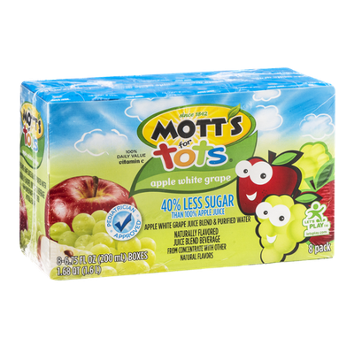 Mott's for Tots Juice Boxes Apple White Grape - 8 CT