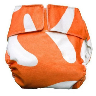 CuteyBaby All in One Modern Cloth Diaper, Orange Graphic