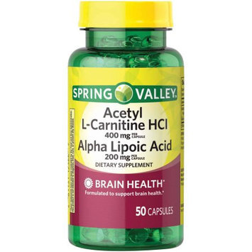 Spring Valley Acetyl L-Carnitine HCl Alpha Lipoic Acid Dietary Supplement Capsules, 50 count