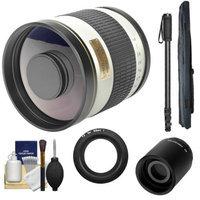 Samyang 500mm f/6.3 Mirror Lens (White) (T Mount) with 2x Teleconverter (=1000mm) + Monopod + Accessory Kit for Nikon 1 J1, J2 & V1 Digital Cameras