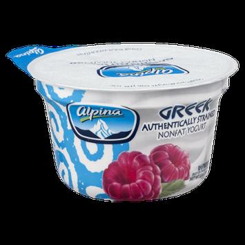 Alpina Greek Authentically Strained Nonfat Yogurt Raspberry