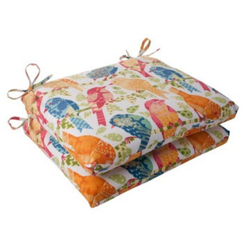 Pillow Perfect Outdoor 2-Piece Square Seat Cushion Set - White/Orange Birds