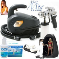Complete Apollo Mini-Mist Deluxe Sunless Spray Tanning System with a Pint of 8.5% DHA Solution with Medium Bronzer, 4 Solution Variety Pack (1 Pint Total) Tanning Tent and Accessories