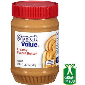 Great Value: Creamy Peanut Butter, 18 Oz