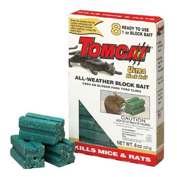 Tomcat 100-31239-9 8-Count All Weather Rat Killer Ultra Block Bait 8 ounce (1 pack) (Discontinued by Manufacturer)
