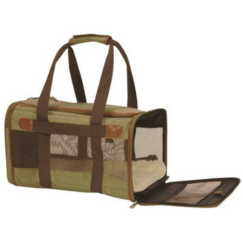 Sherpa 55532 Original Deluxe Pet Carrier Small Olive Green With Tan Trim