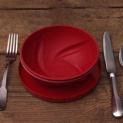 FLATTERWARE Collapsible Bowl Plate Travel For People Red