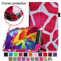 Fintie Folio Premium Vegan Leather Case Cover for Samsung Tab 4 7.0 7-Inch Tablet, Giraffe Magenta