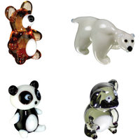 BrainStorm Looking Glass Miniature Glass Figurines, 4-Pack, Teddy Bear/Polar Bear/Panda Bear/Koala Bear