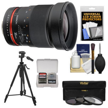 Rokinon 35mm f/1.4 Aspherical Wide Angle Lens with Filters + Tripod Kit for Sony Alpha SLT-A37, A57, A58, A65, A77 II, A99 DSLR Camera