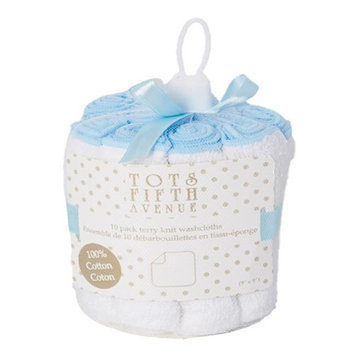 Tots Fifth Ave 1721 Terry Knit Washcloths Blue