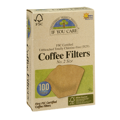 If You Care FSC Certified Unbleached Totally Chlorine-Free No. 2 Size Coffee Filters - 100 CT