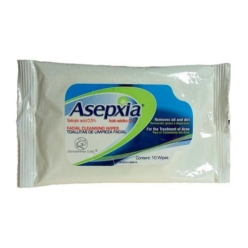 Asepxia Facial Cleanser Wipes Acne Skin Treatment - Toallitas De Limpieza Facial