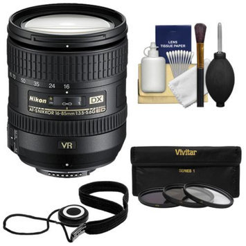 Nikon 16-85mm f/3.5-5.6 G VR DX AF-S ED Zoom-Nikkor Lens with 3 UV/ND8/CPL Filters + Accessory Kit for D3100, D3200, D3300, D5100, D5200, D5300, D7000, D7100 DSLR Cameras