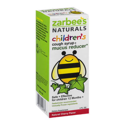 Zarbee's Naturals Children's Cough Syrup + Mucus Reducer Cherry Flavor