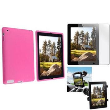 Insten INSTEN Black Car Mount Windshield Holder+Pink Silicone Skin Case+Cover for iPad 4 3 2