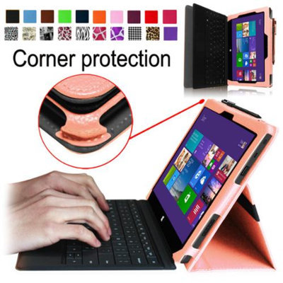 Fintie Folio Leather Case Cover for Microsoft Surface Pro / Surface Pro 2 Windows 8 Tablet 10.6 Inch, Pink