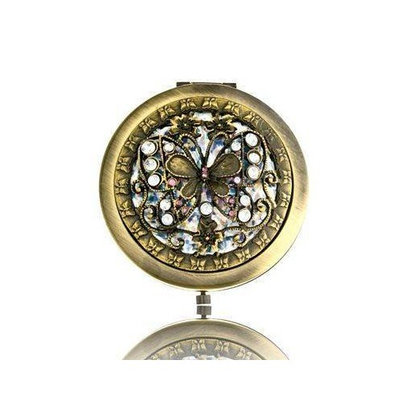 Welforth Antique Style Brass Butterfly Round Compact Mirror