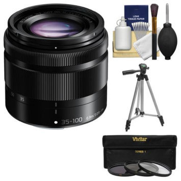 Panasonic Lumix G Vario 35-100mm f/4.0-5.6 OIS Zoom Lens (Black) with Tripod + 3 Filters + Kit for Galaxy NX, NX30, NX300, NX2000, NX3000 Cameras