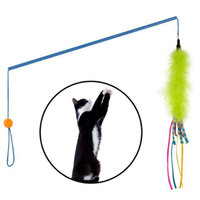 Smartpaw SmartPaw Pounce 'n Pull Cat Wand Interactive Toy Catnip Streamers Ball Dance