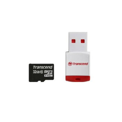 Transcend microSDHC with P3 Card Reader - 32GB, USB 2.0, Compact, Ultra Fast, Class 10, ECC, 10000 Insertion/Removal Cy