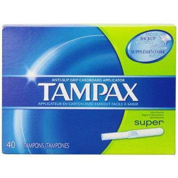 Tampax Anti-Slip Grip Cardboard Applicator, Super absorbency Tampons
