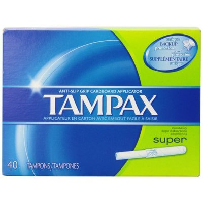 Tampax Anti-Slip Grip Cardboard Applicator, Super absorbency Tampons 40 Count