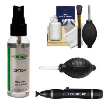 PUROSOL Purosol All Natural Optical Molecular Lens & DSLR Camera Cleaner (2 Fl. Oz.) with Lenspen + Hurricane Blower + Cleaning Kit