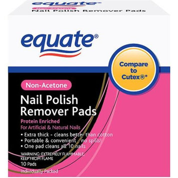 Equate Non-Acetone Nail Polish Remover Pads, 10 count