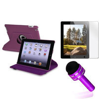 Insten INSTEN Purple For Apple iPad 4 4th 4G Gen 3 3rd 2 360 Rotating PU Leather Case Cover Stand