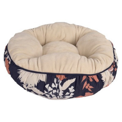 Boots & Barkley Boots& Barkley Round Pet Bed - Flower Silhouette Navy/Coral 20