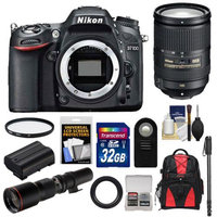Nikon D7100 Digital SLR Camera Body with 18-300mm VR Lens + 500mm Tele Lens + 32GB Card + Battery + Backpack + Accessory Kit