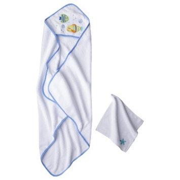 Luvable Friends Newborn Boys' Hooded Towel and Washcloth Set - Blue