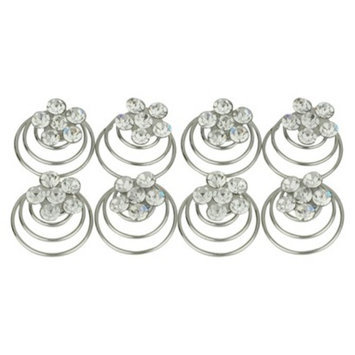 Social Gallery by Roman 8 Piece Crystal Spiral Hair Pins - Silver