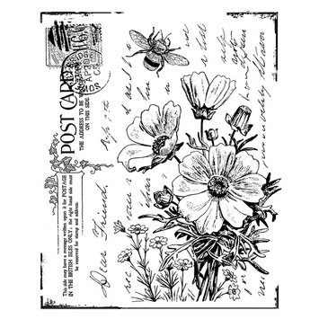 Cam Consumer Products, Inc. Crafty Individuals Unmounted Rubber Stamp Floral Postcard