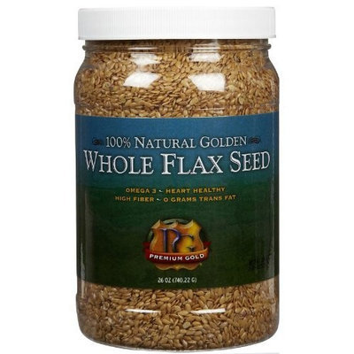 Premium Gold Whole Flax seed, Jars, 26 oz