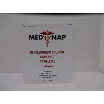 Med-Nap 3303 Benzalkonium Chloride BZK Antiseptic 100 Towelette