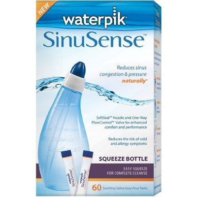 Waterpik SWS 360 Sinusense Squeeze Bottle Includes 60 Soothing Saline Packs With Aloe Vera and Eucalyptus, Blue