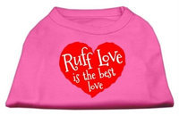 Ahi Ruff Love Screen Print Shirt Bright Pink XS (8)