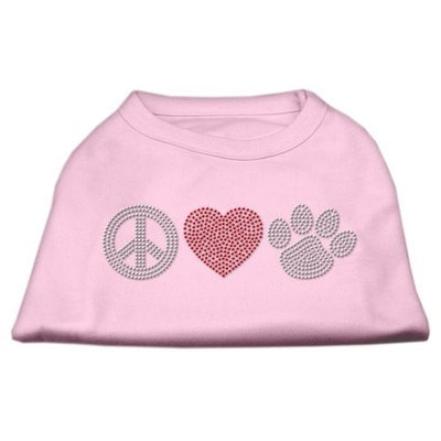Mirage Pet Products 5263 SMLPK Peace Love and Paw Rhinestone Shirt Light Pink S 10