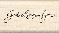 Inkadinkado Wood Mounted Rubber Stamp G-God Loves You