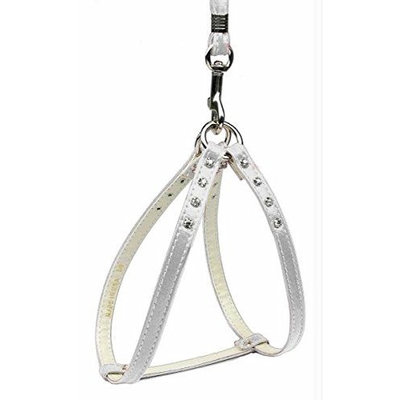 Mirage Dog Supplies Step-In Harness White W/ Clear Stones 20