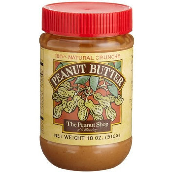 The Peanut Shop of Williamsburg Peanut Butter, Crunchy, 18-Ounce Plastic Jars (Pack of 4)