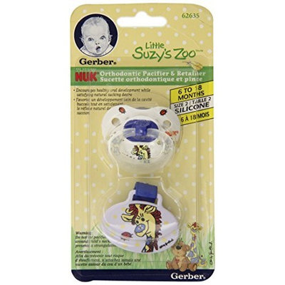 NUK Orthodontic Silicone BPA Free Pacifier and Pacifier Clip, Size 2 - Little Suzy's Zoo, Colors may vary